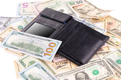Dollar bills and purse. Stock Images