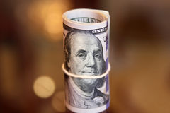 Dollar bills roll money Stock Photo