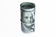 Dollar bills roll money Stock Image
