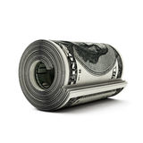 Dollar bills2. Dollar bills in a roll on a white background Royalty Free Stock Photo
