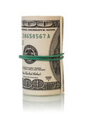Dollar bills rolled up Stock Images