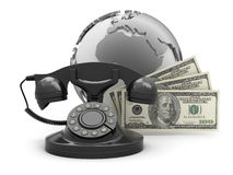 Dollar bills, rotary phone and earth globe Royalty Free Stock Photography