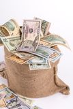 Dollar Bills in sack close up. Macro. Stock Photo