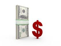 Dollar Bills and Sign Stock Image