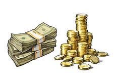 Dollar bills and stack of gold coins set. Hand drawn sketch vector set. Dollar bills and stack of gold coins. Hand drawn set isolated on white background Vector Illustration