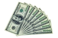1000 dollar bills stack Royalty Free Stock Photo