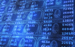 1000 Dollar Bills Stacked Ticker Data. 3D abstract background of 1000 dollars bills stacked with stock market ticker data Stock Photos