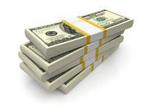 Dollar bills stacks. Dollar stacks on a white background. 3d image vector illustration