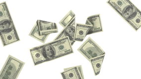 Dollar bills sticking to the screen animations in full HD. Dollar bills sticking to the screen. Black-and-white mask. Isolated on white and black background stock video footage