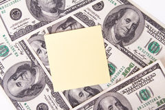 Dollar Bills and Sticky Post Royalty Free Stock Images