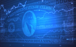 5000 Dollar Bills on Stock Market Ticker Royalty Free Stock Photos