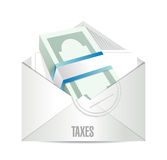 Dollar bills taxes mail illustration design Stock Photo