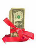 Dollar Bills Tied in a Red Ribbons. Bundles of cash tied with a Red Ribbon.  Perfect for Gifts Royalty Free Stock Photos