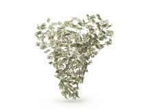 Dollar bills tornado. 3D render vector illustration