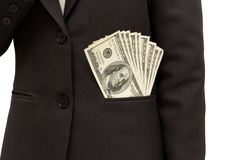 Dollar bills U.S. in suit pocket. Stock Photography