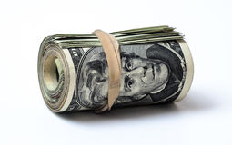Money concepts.  roll of 20 dollar bills. Stock Image