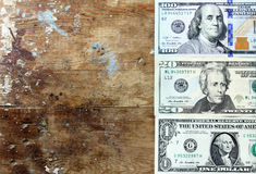 Dollar bills. Usd american dollar bills  on rustic wooden background Royalty Free Stock Images