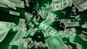 $100 Dollar Bills Vortex Animation. $100 Dollar Bills flying away, green light rays tinted with exact green from the ink stock video footage