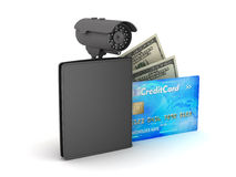 Dollar bills, wallet, credit card and video surveillance camera Stock Photo