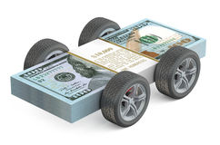 Dollar Bills on Wheels isolated Royalty Free Stock Images