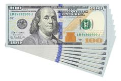 100 dollar bills on white background isolated. Business money concept template