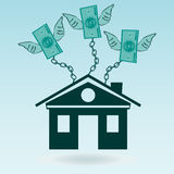 Dollar bills with wings chained to the house. Royalty Free Stock Photography