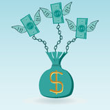 Dollar bills with wings chained to the money bag Stock Images