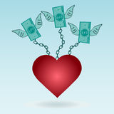 Dollar bills with wings chained to the red heart. Stock Photography