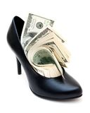 Dollar bills in a woman shoe Stock Photography