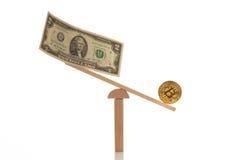 Dollar and bitcoin on balance Stock Images