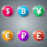 Dollar, Bitcoin, Yen, Euro, Roebel, Pondpictogram Stock Afbeeldingen
