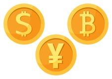 Dollar, bitcoin, yuan. Vector illustration vector illustration