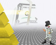 Dollar  and the black cylinder Stock Image