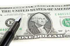 Dollar with black pen Stock Image