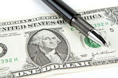 Dollar with black pen Royalty Free Stock Photography