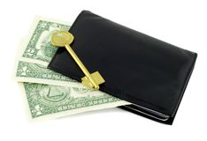 Dollar in black wallet Stock Images