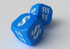 Dollar bleu étiqueté matrices Photos stock