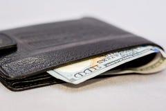 Dollar blick från plånboken dollar plånbok Pengar som gör pu Fotografering för Bildbyråer