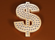 Dollar bling. Illustration of a diamond studded dollar symbol Stock Images