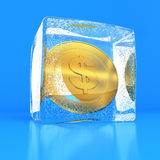 Dollar in the block of ice Royalty Free Stock Photography