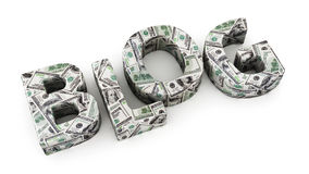 Dollar Blog. Word BLOG made from dollar banknotes on white background Royalty Free Stock Images