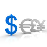 Dollar. In blue color and other currencies Stock Photo