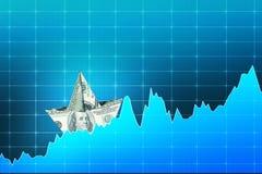 Dollar boat on digital chart Royalty Free Stock Photo