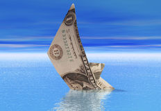 Dollar boat sinking Stock Photography