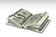 Dollar Book. Illustration of book with dollar pages on abstract background Stock Photos