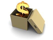 Dollar in the box. Abstract 3d illustration of golden dollar sign in box Royalty Free Stock Photography