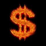 Dollar brûlant des Etats-Unis USD Photo stock