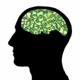 Dollar brain of a man Stock Images