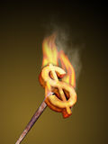 Dollar brander. Hot metal dollar brander. Digital illustration Stock Photo