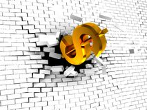 Dollar breaking wall. Abstract 3d illustration of dollar sign breaking white brick wall Stock Photography